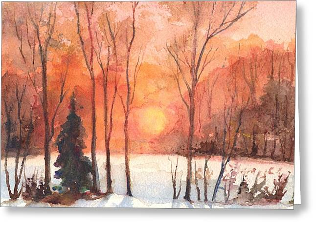 Christmas Greeting Greeting Cards - Evening Glow Greeting Card by Carol Wisniewski