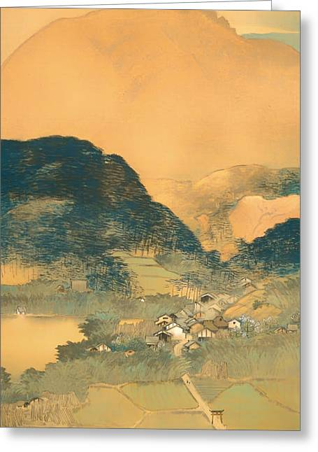 Japan Village Greeting Cards - Evening Glow Greeting Card by Kawamura Manshu