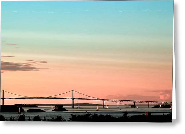 Ocean Scenes Greeting Cards - Evening Glow Newport-oil effect image Greeting Card by Tom Prendergast