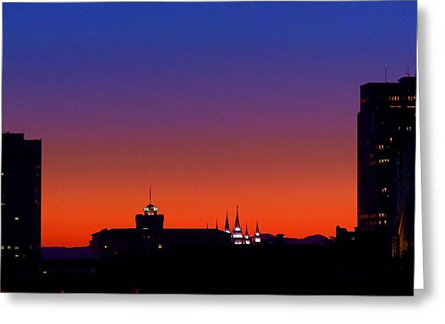 Salt Lake City Greeting Cards - Evening Glow Greeting Card by Rona Black