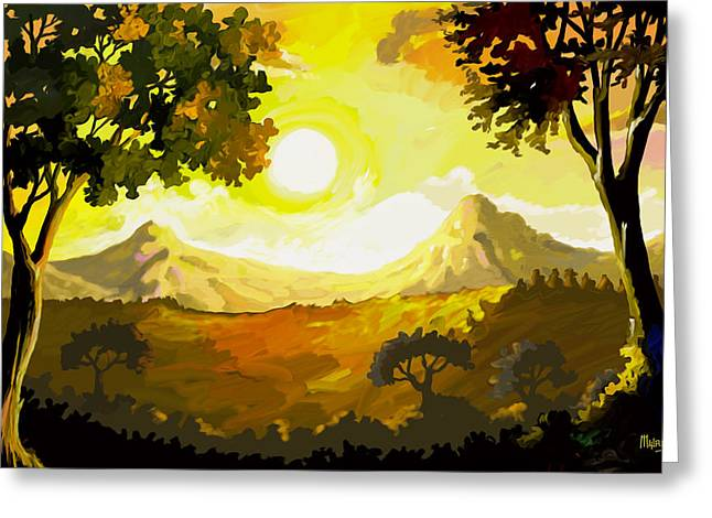 Sun Rays Paintings Greeting Cards - Evening Gold Greeting Card by Anthony Mwangi
