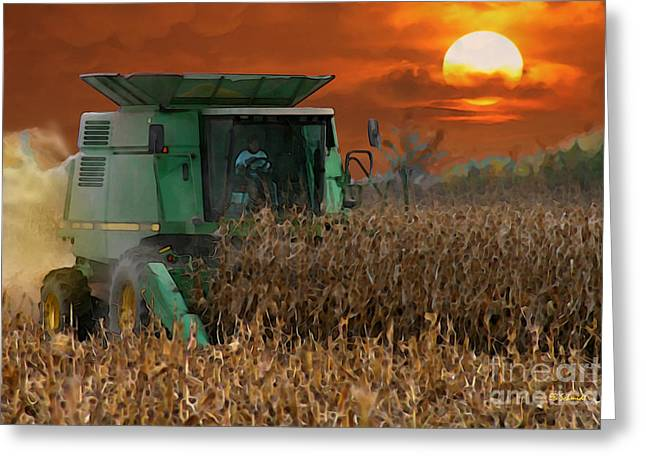 Machinery Mixed Media Greeting Cards - Evening Harvest Greeting Card by E B Schmidt