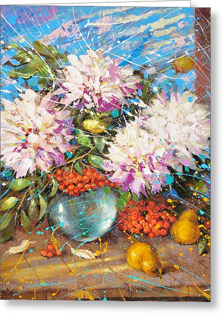Water Jug Greeting Cards - Evening impression of white flowers on winter window Greeting Card by Dmitry Spiros