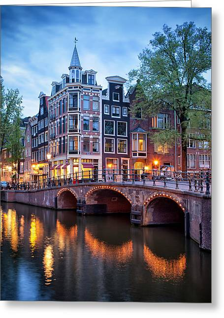 Old Home Place Greeting Cards - Evening in Amsterdam Greeting Card by Artur Bogacki