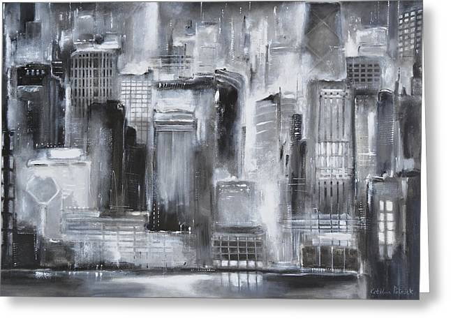 Wrigley Field At Night Greeting Cards - Evening in Chicago - Black and White Painting Greeting Card by Kathleen Patrick