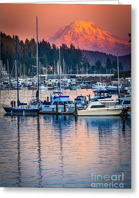 Docked Sailboats Greeting Cards - Evening in Gig Harbor Greeting Card by Inge Johnsson