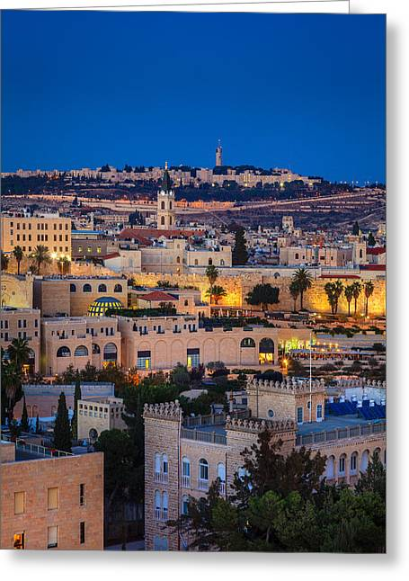 City Lights Greeting Cards - Evening in Jerusalem Greeting Card by Alexey Stiop