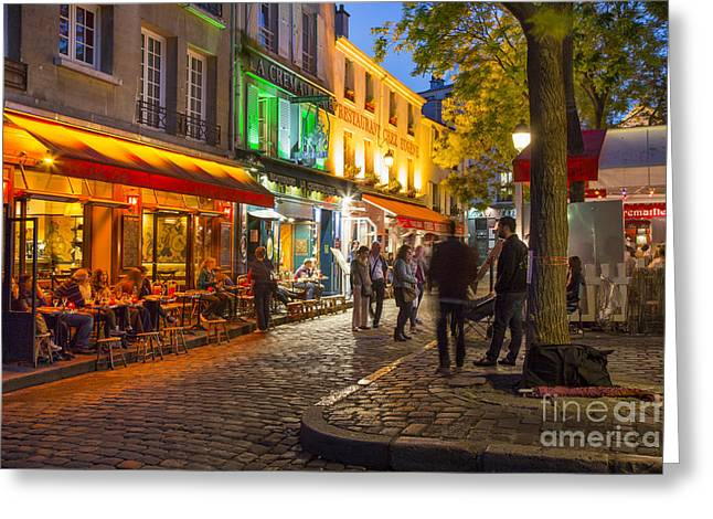 Cafe City Lights Greeting Cards - Evening in Montmartre Greeting Card by Brian Jannsen
