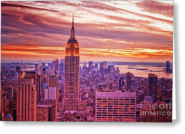 New York Vista Greeting Cards - Evening in New York City Greeting Card by Sabine Jacobs