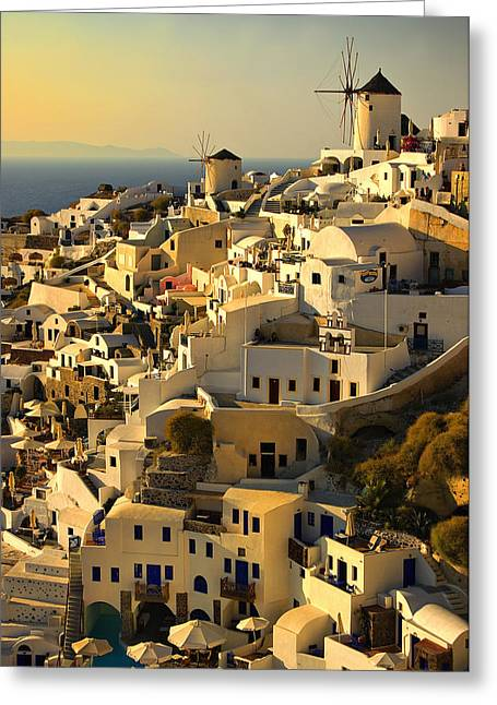 Where Greeting Cards - evening in Oia Greeting Card by Meirion Matthias
