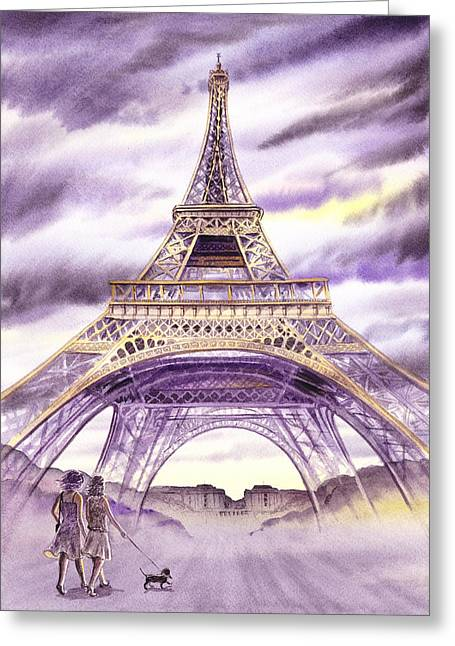 Kids Books Paintings Greeting Cards - Evening In Paris A Walk To The Eiffel Tower Greeting Card by Irina Sztukowski