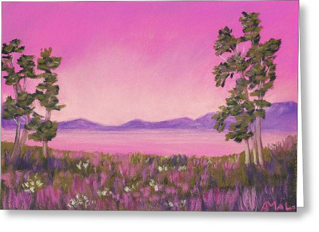 Season Pastels Greeting Cards - Evening in Pink Greeting Card by Anastasiya Malakhova