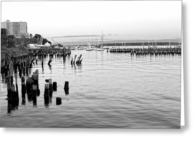 New England Village Greeting Cards - Evening in Portland in Black and White Greeting Card by Jenny Hudson