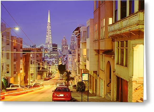 Residential District Greeting Cards - Evening In San Francisco, San Greeting Card by Panoramic Images