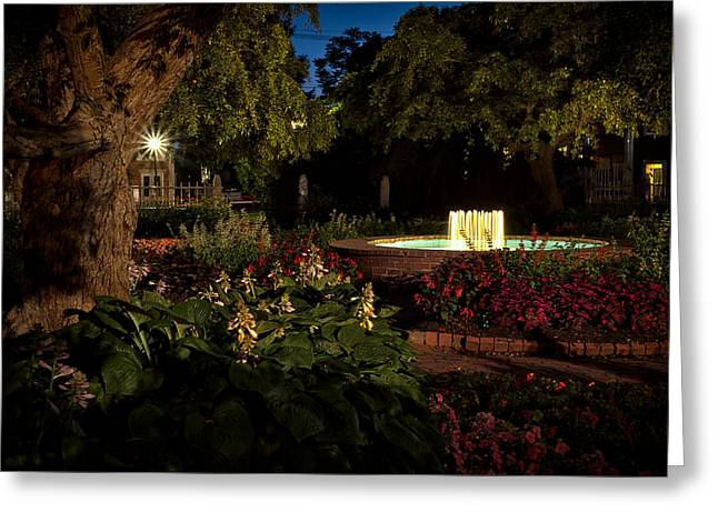 Prescott Photographs Greeting Cards - Evening In The Garden Prescott Park Gardens At Night Greeting Card by Jeff Sinon