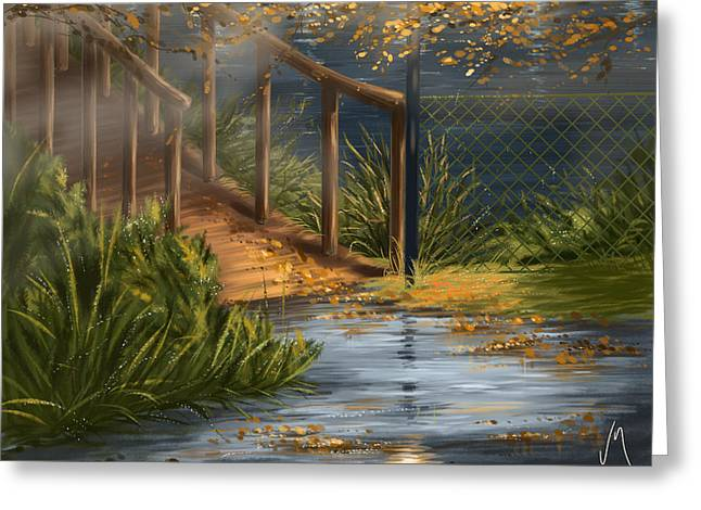 Autumn Digital Art Greeting Cards - Evening in the park Greeting Card by Veronica Minozzi