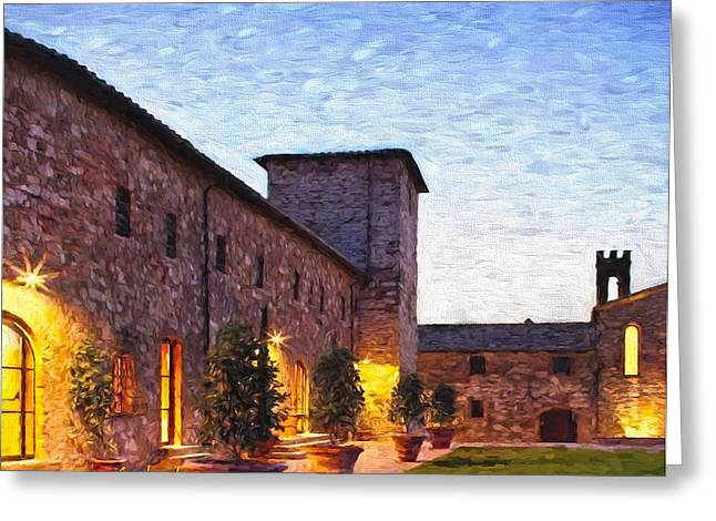Wine Scene Mixed Media Greeting Cards - Evening In Tuscany Greeting Card by Garland Johnson