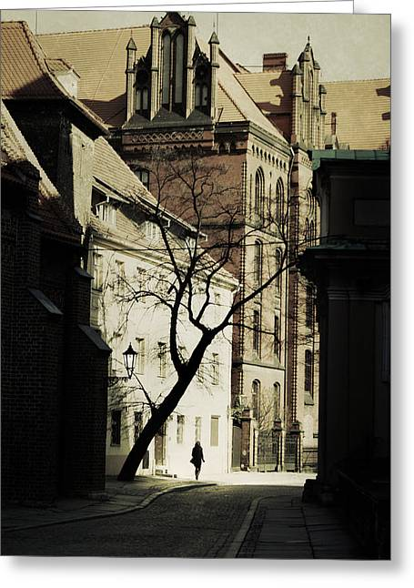 Street Lantern Greeting Cards - Evening in Wroclaw Greeting Card by Wojciech Zwolinski