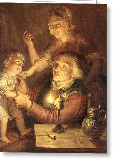 Parenthood Greeting Cards - Evening Greeting Card by Jan Hendrick van Grootvelt
