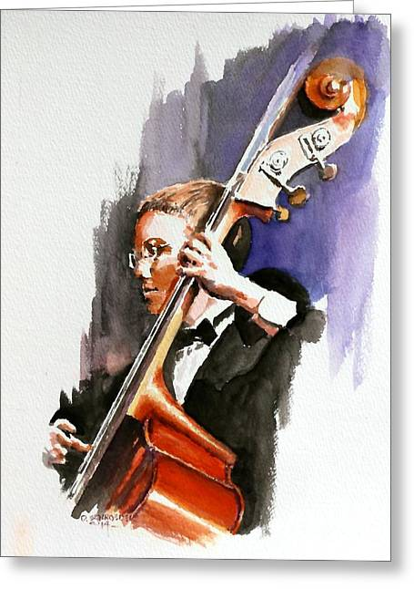 Stand Up Bass Greeting Cards - Evening Jazz Greeting Card by Don Schroeder