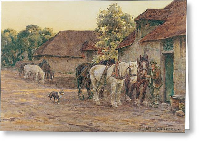 Horse Farm Greeting Cards - Evening Greeting Card by Joseph Harold Swanwick