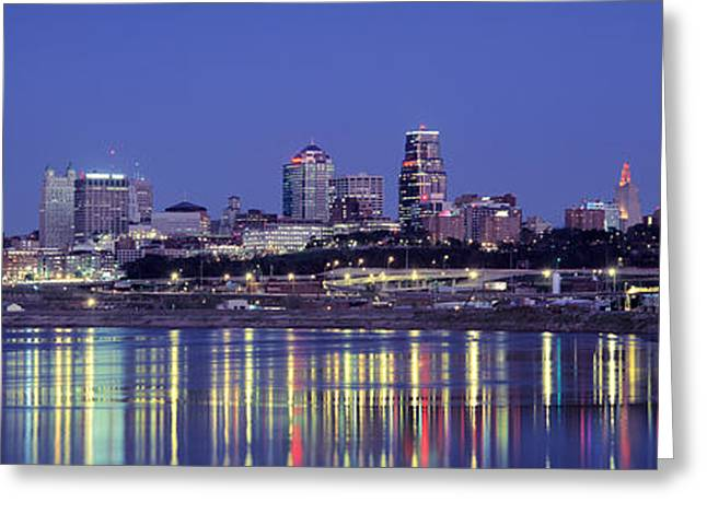 Missouri Photography Greeting Cards - Evening Kansas City Mo Greeting Card by Panoramic Images