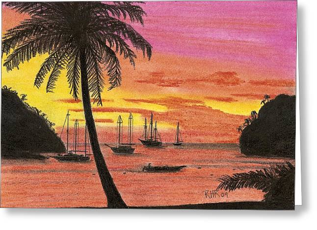 Tropical Pastels Greeting Cards - Evening Lagoon Greeting Card by Ray Ratzlaff