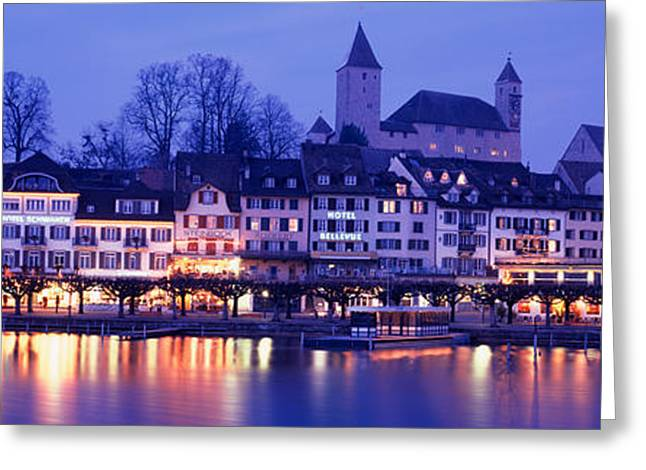Commercial Photography Greeting Cards - Evening, Lake Zurich, Rapperswil Greeting Card by Panoramic Images