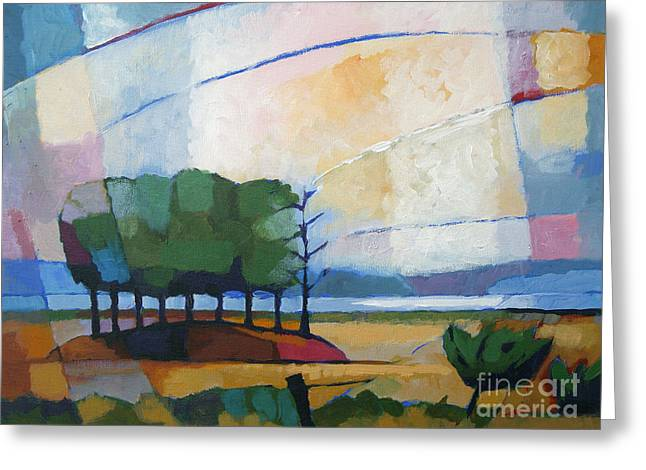 Impressionist Greeting Cards - Evening Landscape Greeting Card by Lutz Baar
