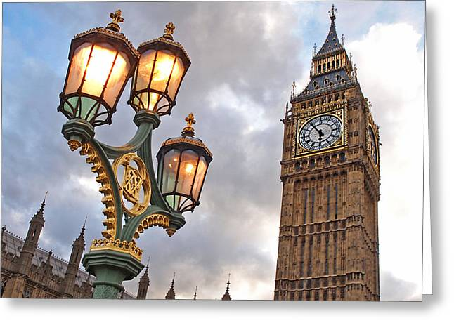 Blue And Green Greeting Cards - Evening Light at Big Ben Greeting Card by Gill Billington