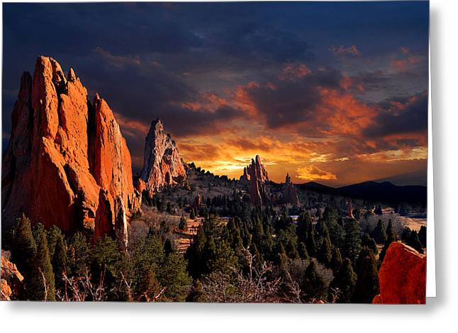 Rock Spring Trail Greeting Cards - Evening Light at the Garden Greeting Card by John Hoffman