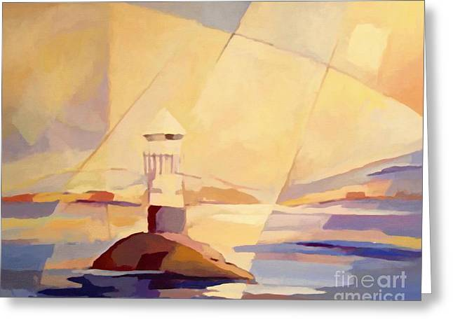 Evening Lights Paintings Greeting Cards - Evening Light at the Sea Greeting Card by Lutz Baar