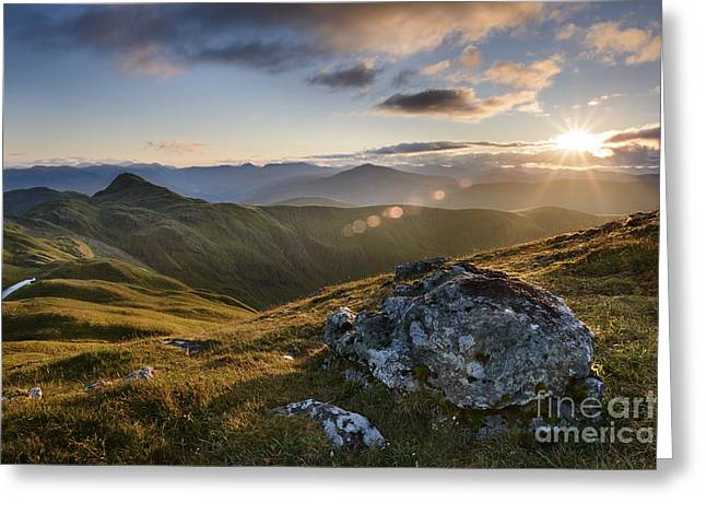 Scottish Highlands Greeting Cards - Evening light from Meall nan Tarmachan - Scotland Greeting Card by Rod McLean
