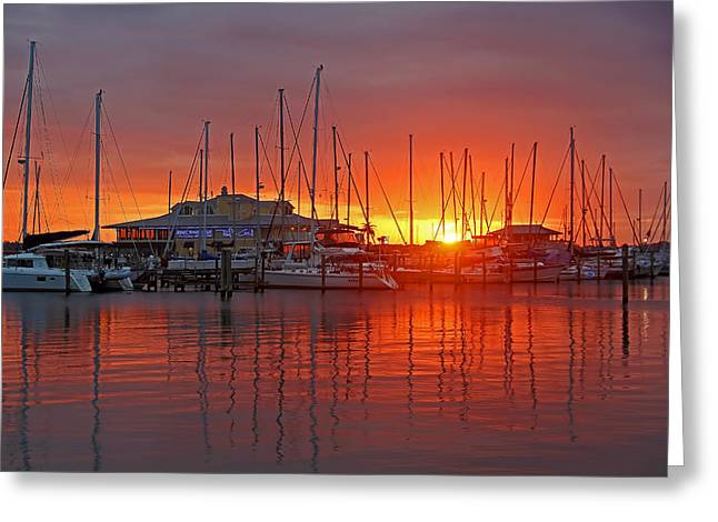 Yellow Sailboats Greeting Cards - Evening Light Greeting Card by HH Photography