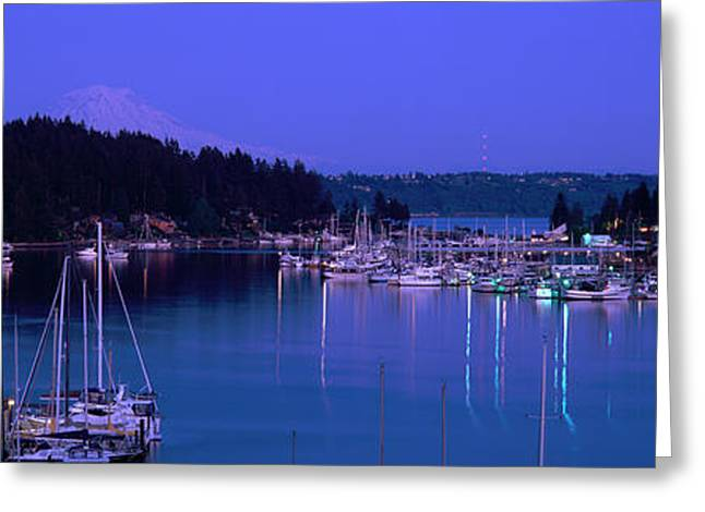 Evening Light On Boats Moored In Gig Greeting Card by Panoramic Images
