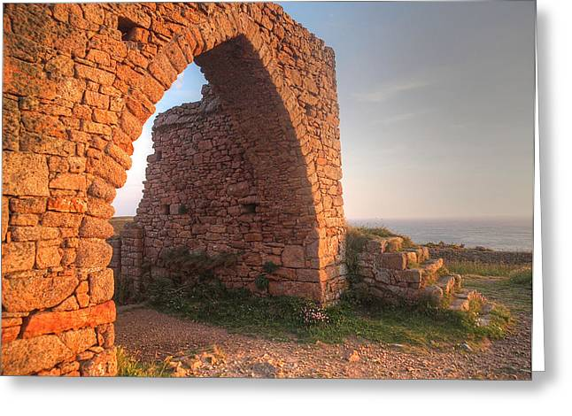 Castle Room Greeting Cards - Evening Light on Grosnez Castle Ruins Jersey Greeting Card by Gill Billington