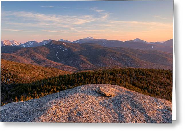 """high Peaks"" Greeting Cards - Evening Light On The Adirondack High Greeting Card by Panoramic Images"