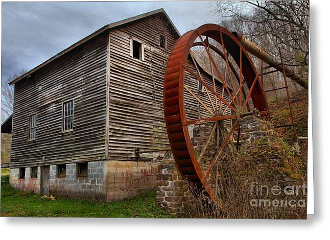 Wooden Building Greeting Cards - Evening Light Over McClungs Mill Greeting Card by Adam Jewell