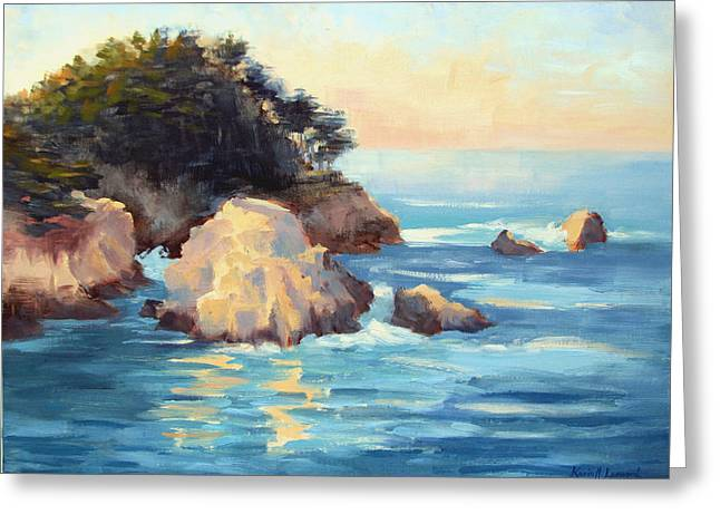 Big Sur Paintings Greeting Cards - Evening Light Point Lobos Greeting Card by Karin  Leonard