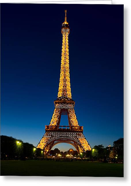Champs Greeting Cards - Evening Light Show at the Tower Greeting Card by Michael Blanchette