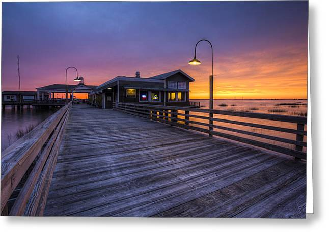 Night Cafe Greeting Cards - Evening Lights Greeting Card by Debra and Dave Vanderlaan