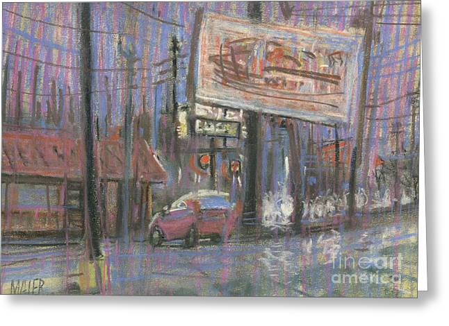 Pole Drawings Greeting Cards - Evening Lights Greeting Card by Donald Maier