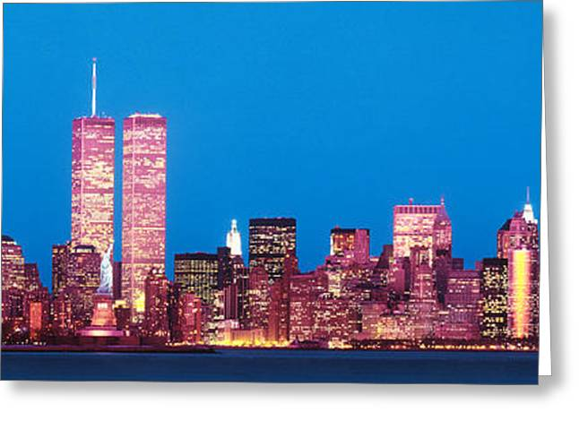Brightly Lit Greeting Cards - Evening Lower Manhattan New York Ny Greeting Card by Panoramic Images