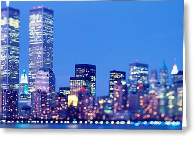 Corporate Business Greeting Cards - Evening, Lower Manhattan, Nyc, New York Greeting Card by Panoramic Images