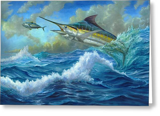 Marlin Azul Greeting Cards - Evening Meal Greeting Card by Terry  Fox