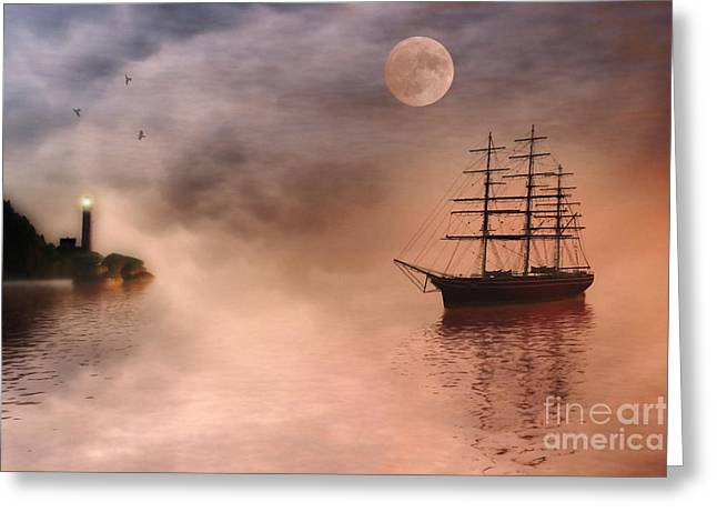 """sailing Ship"" Greeting Cards - Evening Mists Greeting Card by John Edwards"