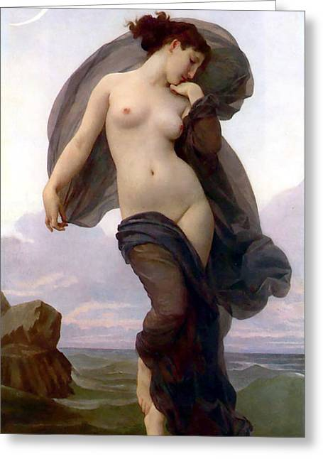 Feminity Greeting Cards - Evening Mood Greeting Card by Adolphe-William Bouguereau