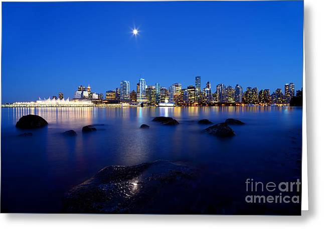 Burrard Inlet Greeting Cards - Evening Moon Over Vancouver Harbour 2 Greeting Card by Terry Elniski