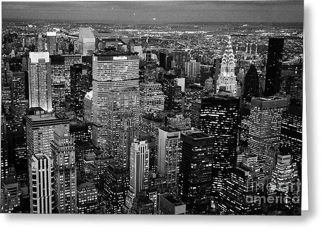 Evening Night View Of North East Manhattan Cityscape Night New York City Illuminated Greeting Card by Joe Fox