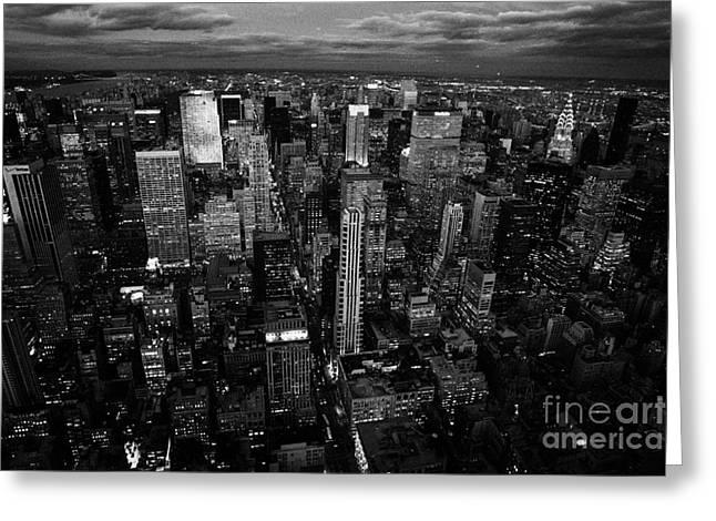 Manhatan Greeting Cards - Evening Night View Of North East Manhattan  New York City Skyline Night Greeting Card by Joe Fox